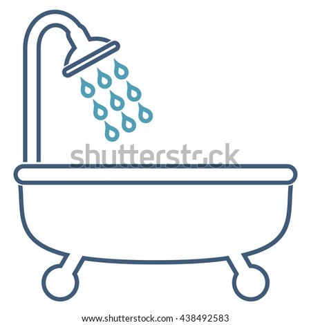 Shower Bath vector icon. Style is linear bicolor flat icon symbol, cyan and blue colors, white background.