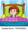 sick person lying in bed - stock vector
