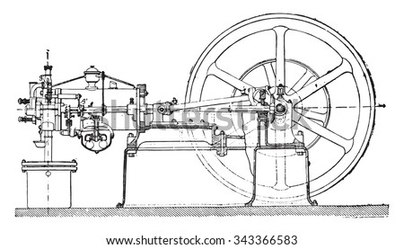 Side elevation of an Otto engine, the frame being assumed section along the axis of the rod which controls the slide, vintage engraved illustration. Industrial encyclopedia E.-O. Lami - 1875.