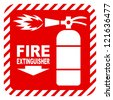 Sign of the fire extinguisher in vector, isolated over white - stock photo