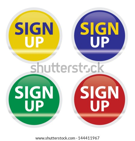 Sign up colorful buttons or icons set. Vector