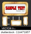sign with copy space and light bulbs surround - stock vector