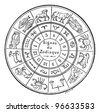 Signs of the Zodiac, vintage engraved illustration. Dictionary of words and things - Larive and Fleury - 1895. - stock vector