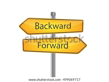 Signs with backward and forward pointing in opposite directions