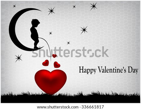 Silhouette boy sitting on moon and wrote in red heart