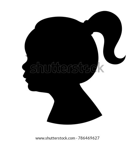 silhouette girl kid head with ponytail vector illustration of a young girl head shadow isolated