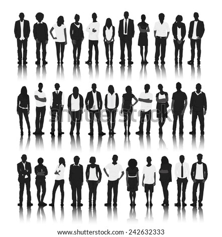 Vector Multiethnic Business People Silhouettes Stock ...