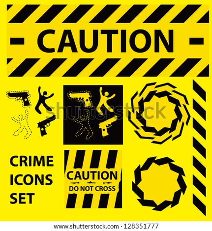 Silhouette icons set Caution, danger, and police crime concept design elements