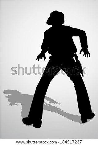 Silhouette illustration of a cowboy ready to draw a gun