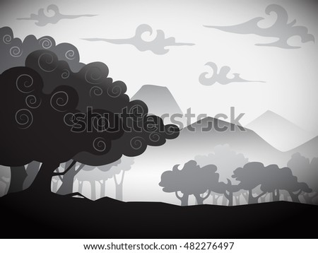 silhouette image of landscape with trees, vector illustration, flat puppet style