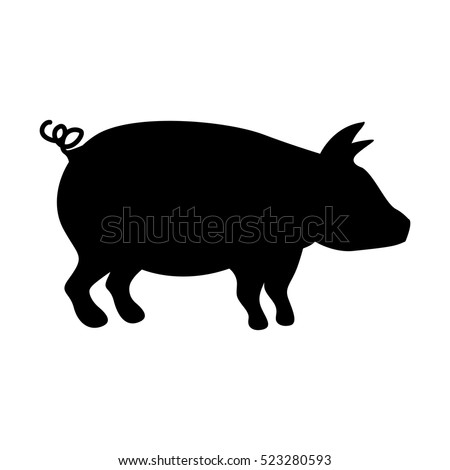 silhouette monochrome color with pig