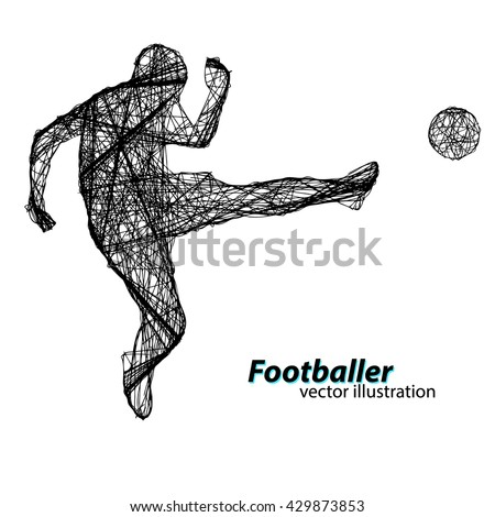 Silhouette of a football player from wires. Text and background on a separate layer, color can be changed in one click