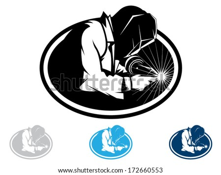 Silhouette of a working welding with a torch/Welding Vector