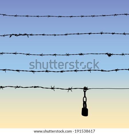 Silhouette of barbed wire with padlock, five parts of barbed wire, vector illustration