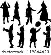 silhouette of children who plays and moves - stock vector