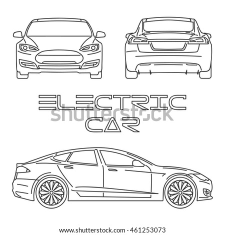 silhouette electric car outline stock vector 475367080 With displaying 16gt images for electric cars diagram