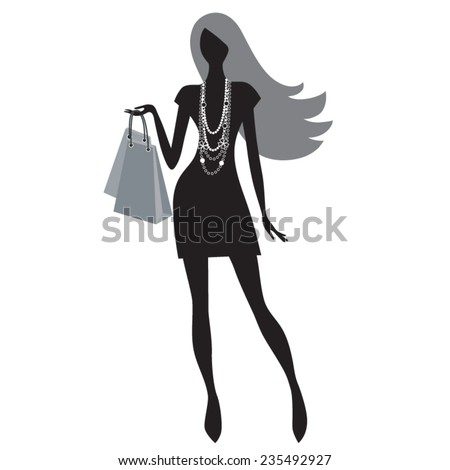 silhouette of fashion woman shopping vector illustration