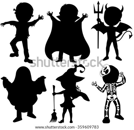 Silhouette of kids or children wearing halloween costumes isolated