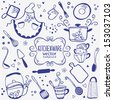 silhouette of kitchenware doodles collection - stock photo