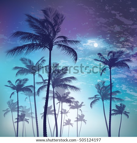 Silhouette of palm tree in moonlight