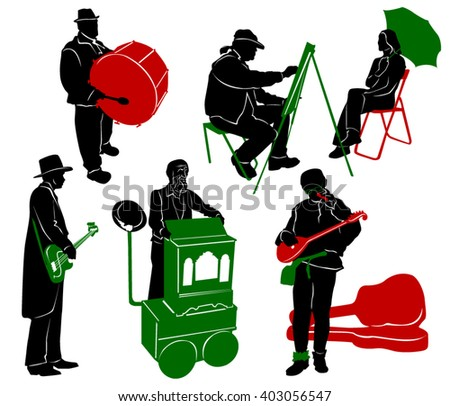 Silhouette of street performers