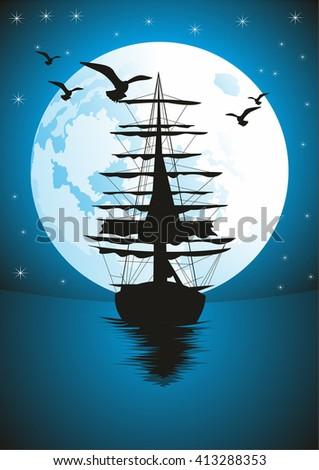 Vintage Sailboat Sketch Boat On Sea Drawing Sa...