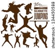 Silhouette people jumping design background, vector illustration - stock vector