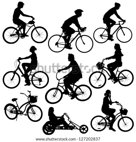 silhouette people on bikes