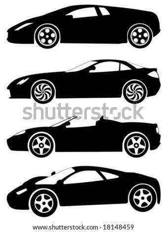 Vector Sport Car Silhouette Set Stock Vector Shutterstock