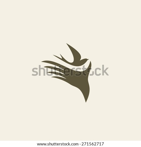 Silhouette swallow in human hands. Logo design for the company.