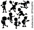 silhouettes children sport for sport events and fun - stock vector