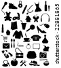 Silhouettes items - shopping, web, accessories objects - stock photo