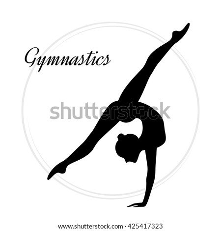 silhouettes of a gymnastic girl vector illustration on white background