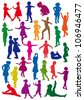 Silhouettes of children at dance, exercises are an aerobics, shaping - stock photo