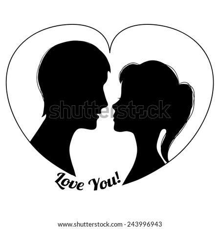 Silhouettes of couple in the heart shape, vector image