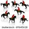 Silhouettes of cowboys on horseback. - stock vector