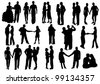 Silhouettes of Falling in love.  Man and woman in love: hug, kiss, hold on to the hands, dance - stock photo