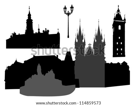 Silhouettes of famous buildings and landmarks of Prague.