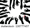 Silhouettes of hands 5. vector - stock