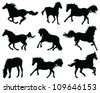 Silhouettes of horses 2 -vector - stock vector