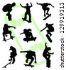 Silhouettes of jump skate-vector - stock vector