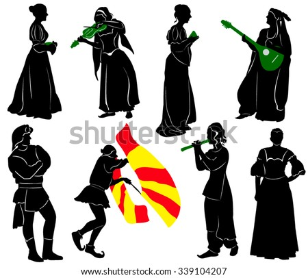 Silhouettes of people in medieval costumes. Musicians, jugglers, a merchant.