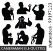 Silhouettes of people taking pictures - stock vector