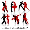 Silhouettes of the pairs dancing ballroom dances. Tango, step. - stock vector