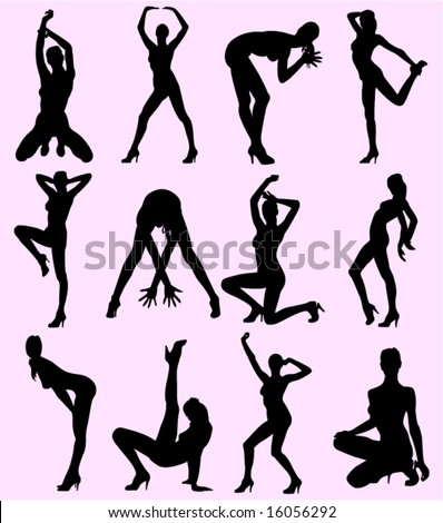 Silhouettes of the woman in different poses