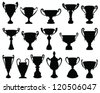 Silhouettes of trophies 3-vector - stock photo