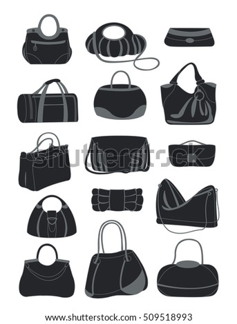 Silhouettes of various bags isolated on white background