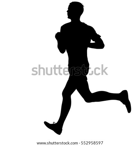 Silhouettes Runners on sprint men. vector illustration.