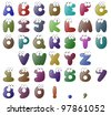 Silly Alphabet with Eyes. (includes numbers and some punctuation). - stock vector