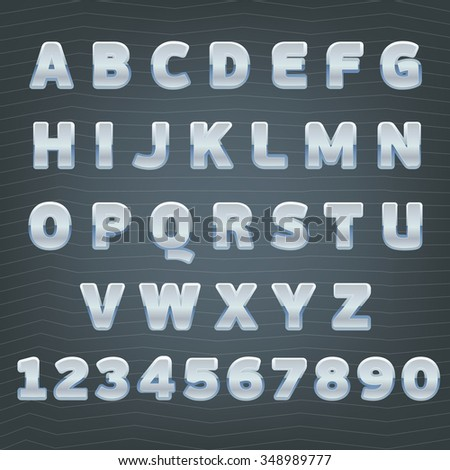 Silver alphabet. Luxury font